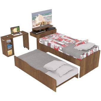 Compra combo cama nido escritorio y repisa para tv for Cama nido escritorio incorporado
