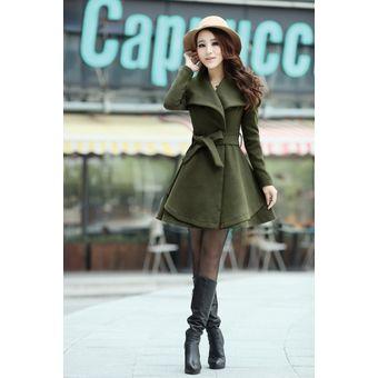 chaqueta de color verde militar estilo coreano y elegante para mujeres