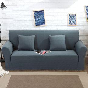 funda de sof de color slido de tejido de punto gris oscuro