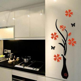 vinil decorativo de pared d diseo florero con rojo