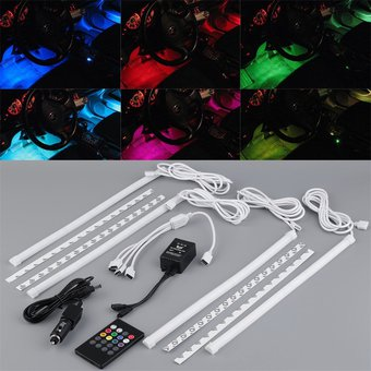 Compra er 4pcs 7 del coche del color de iluminaci n - Iluminacion decorativa interiores ...