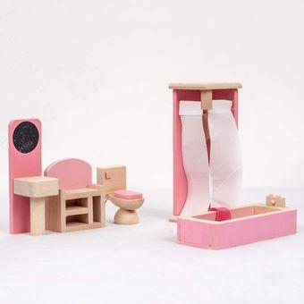 muebles pequea rosa cada juguete familia juguetes de madera para nios prrafo bao rosa with muebles de madera para nios