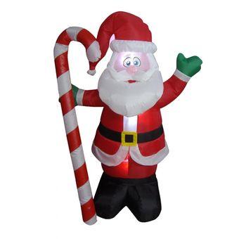 decoracin navidea inflable papa noel santa clous con bastn caramelo