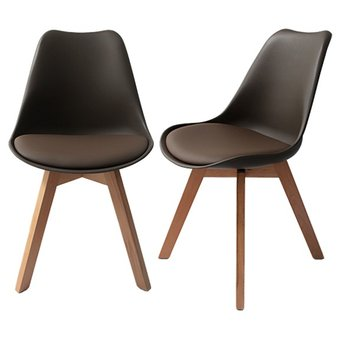 Compra juego de 2 sillas estilo eames color chocolate for Sillas para bebes de 3 meses