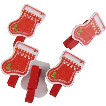 agotado magideal x navidad clips de madera clavijas titular de la tarjeta de navidad de decoracin calcetines