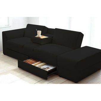 Compra sof cama meet cine mesa y cajones negro online for Salas con sofa cama