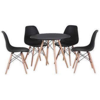 Compra juego de comedor mesa redonda eames negra 4 for Comedores 8 sillas chile