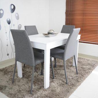 Compra comedor 4p napoli blanco sillas tela gris online for Sillas de comedor para ninos