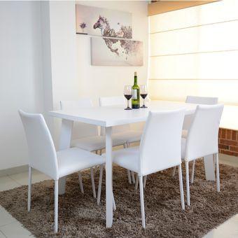 Compra comedor lugo 6 puestos blanco sillas 6 blanco for Decoracion hogar lugo