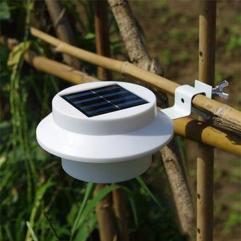 lmpara led con panel solar para jardn blanco