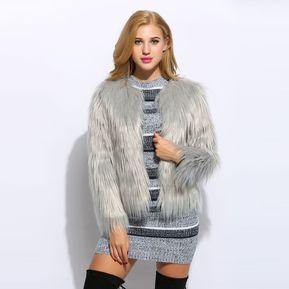 chaqueta de piel elegante para mujergri