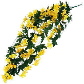 magideal plantas colgantes de seda artificial decoracin montn lirio de la flor del partido guirnalda amarillo - Plantas Colgantes