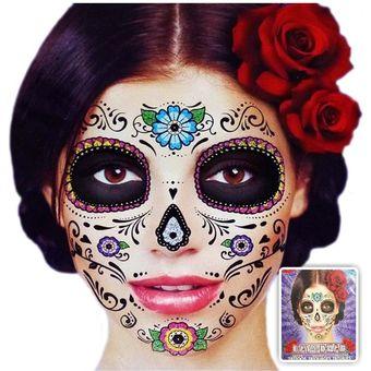 Compra tatuaje temporal m scara dia de los muertos maquillaje ideal para eventos glitter - Maquillage dia de los muertos ...