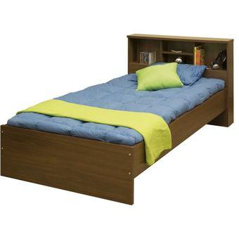 Compra cama sencilla l nea bilbao 89 5 x 110 x 214 nogal for Colchon cama sencilla