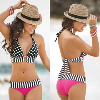 Compra punto rojo del bikini sexy cintura alta traje de - En vano o en bano ...