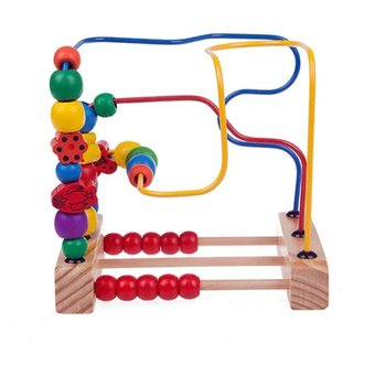 en primer lugar bead laberinto de madera juguete para nios pequeos madera