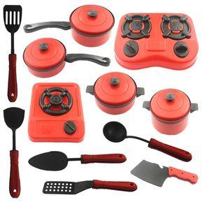 pcs juguete de cocina para nios rojo y negro