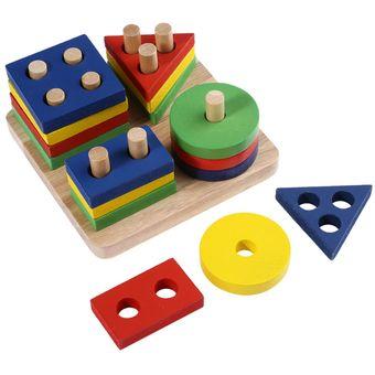 madera geomtricos test juego de mesa bloques de construccin para nios