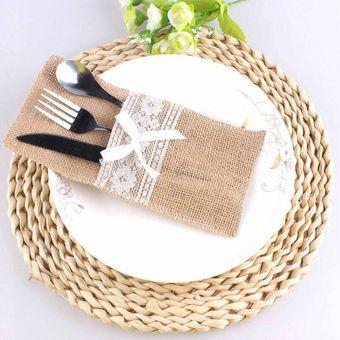 magideal pcs bolsas de encaje de arpillera de yute mesa bolsa titular de la cuchillera decoracin