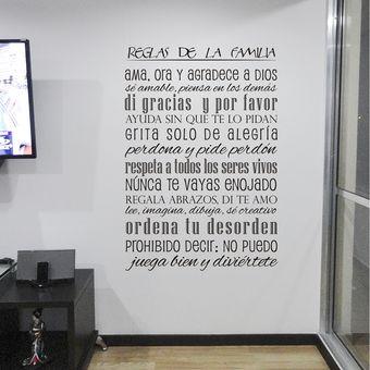 Compra vinilo decorativo por ejemplo reglas de la familia for Vinilos por internet