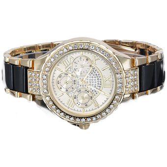 ge de la mujer plata diseador ronda reloj pulsera seoras cristalino del