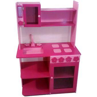 mueble infantil nias cocinita de juguete en mdf rosado y magenta