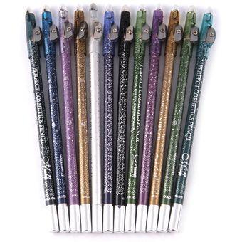12 PC Glitter Delineador de ojos y labios lápices de 12 colores con sacapuntas