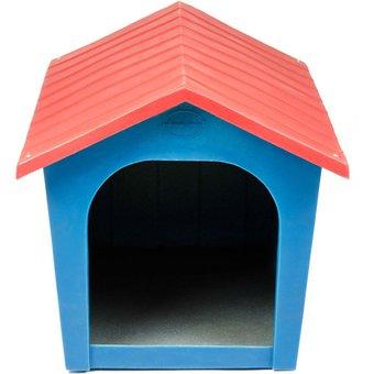 casa de plstico para perro plas rotazul con rojo