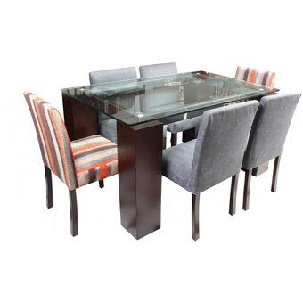 Compra juego de comedor luc a de 6 sillas gris y naranja for Sillas grises para comedor