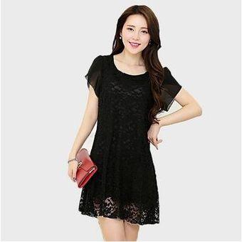 Compra vestido de encaje de estilo elegante y suelto de color negro online | Linio Mu00e9xico