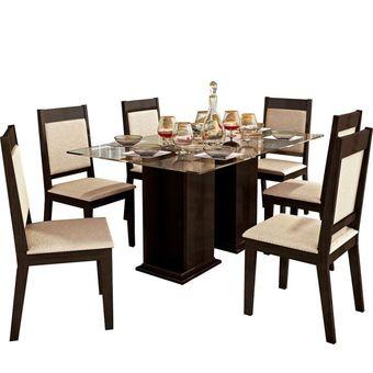 compra juego de comedor p l lorena 6 sillas chenille beige