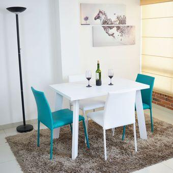 Compra comedor lugo 4 puestos blanco sillas 2 blanco 2 for Comedores tapizados