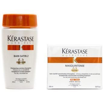 Kit Kerastase Shampoo Nutritive Bain Satin 2 Y Mascarilla / Tratamiento Nutritive Nutrición Intensa Y Duradera Para Cabello Seco Y Grueso