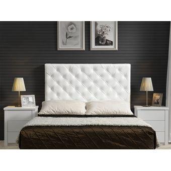 cabecero tapizado base cama sencillo rombos blanco