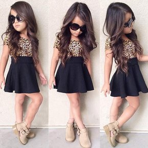 amigo vestido para nia leopardo plisada negro