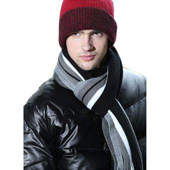 bufanda larga de lana artificial rayas invierno para hombrenegro