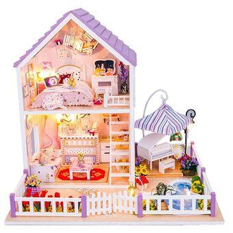 Compra Pixnor Juguetes Niñas DIY Casa De Muñecas De Madera Miniatura Kit Romántica Casa Púrpura ...