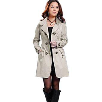 gabardina chaqueta abrigo de parka largo con dos botones elegante yucheer para mujerbeige