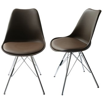 Compra juego de 2 sillas estilo eames color chocolate for Sillas para bebes de 6 meses