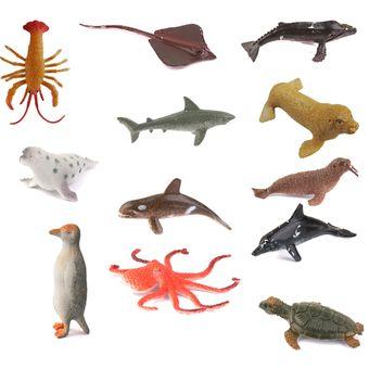 juguetes de plstico pvc diseo animales marinos set piezas multicolor