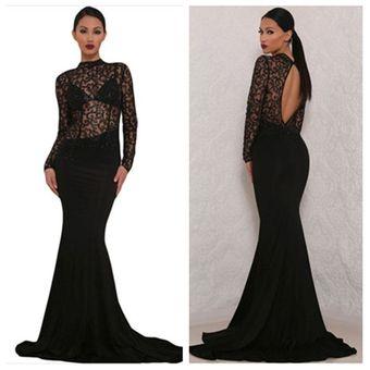Vestidos de fiesta negro de encaje