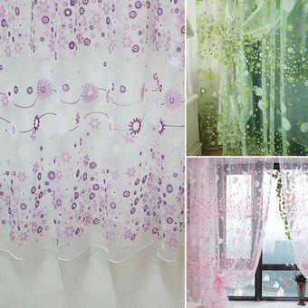 patrn chic room preciosa flor gasa cortina de la ventana para la ventana de la puerta