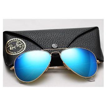 ray ban aviator lente azul espelhada
