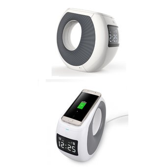 Parlante Bluetooth Diseño Luna NFC Cozy MC1 Cargador Inalámbrico Alarma /Aux/Usb Blanco
