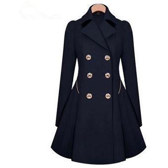 abrigo chaqueta para mujer con mangas largas estilo elegante y modelo azul oscuro