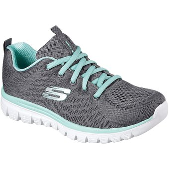 Skechers Graceful-Get Connected, Zapatillas para Mujer, Gris (Charcoal/Green), 36.5 EU
