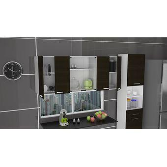 Compra gabinete superior 150 cm vidrio con puertas wengue - Modulo superior de cocina ...