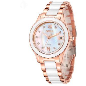 louiwill binli relojes de cermica reloj mecnico automtico reloj color de rosa de oro y diamantes