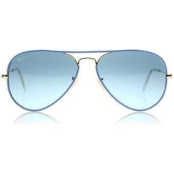 lentes ray ban aviador full color azul