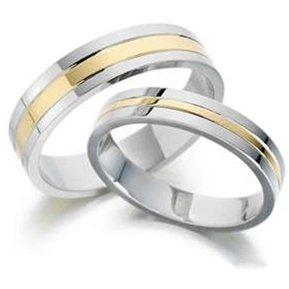 argolla de matrimonio modelo a de oro blanco y amarillo solido de k